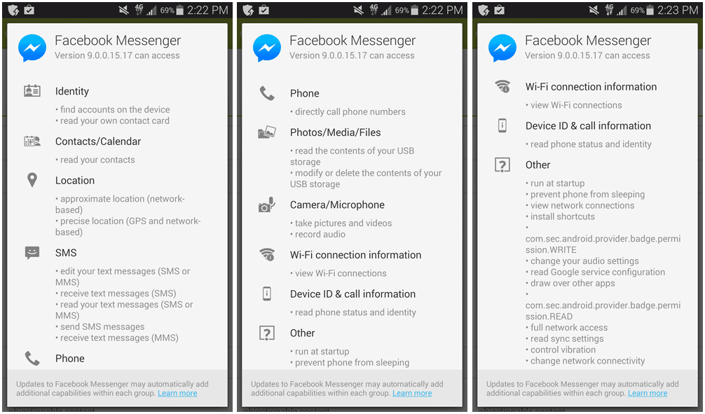 Facebook Messenger App Permissions List