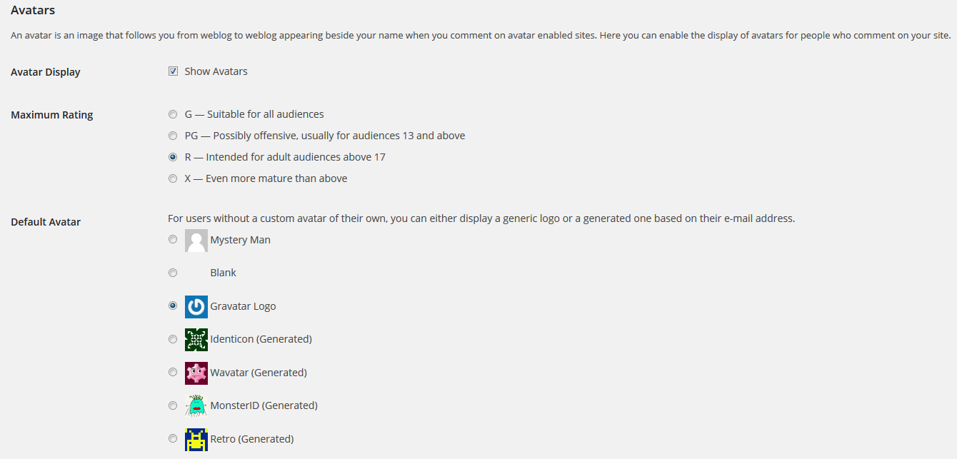 WordPress Avatar Settings
