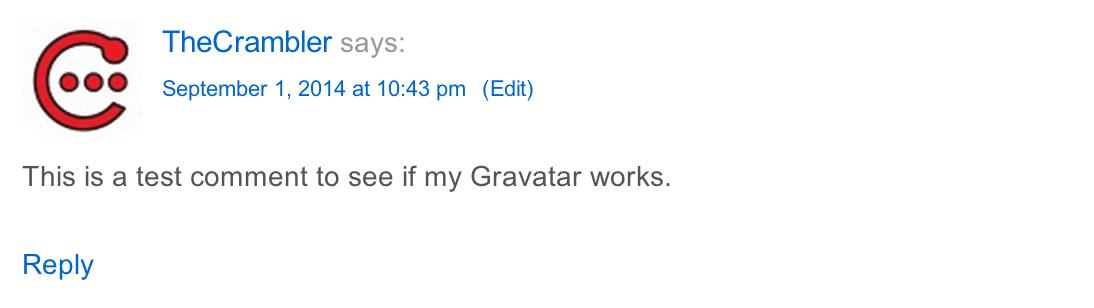 TheCrambler Gravatar Test Comment