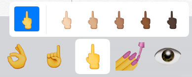 Middle Finger Emoji Skin Tone iOS